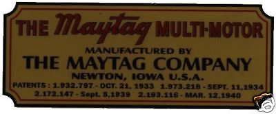 Maytag Engine & Washer Decal Black & Gold & Red