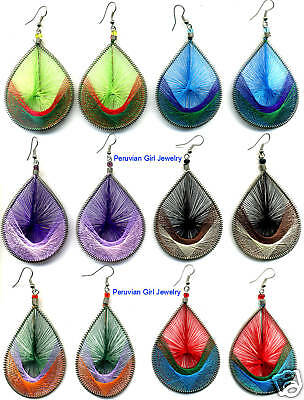 Peruvian Jewelry 5 Thread Earrings Large Bold Unique