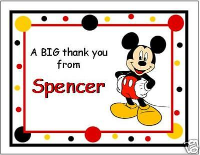 Cute Mickey Mouse Note/thank You Cards
