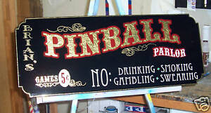 Pinball Parlor  Old Fashioned  Sign Very Nice