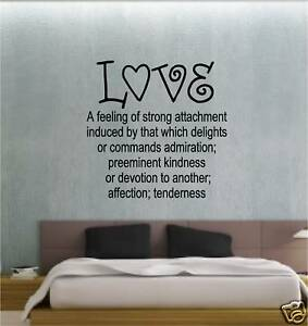 LOVE DEFINITION BEDROOM STICKER WALL ART VINYL LOUNGE