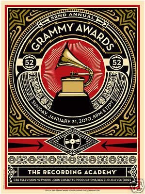 Collectible Rare 52nd Anniversary Grammy Awards Poster Gift Memorabilia Hope