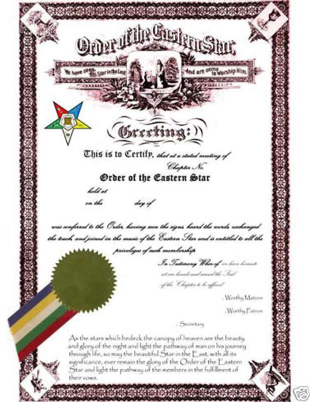 PERSONALIZED Masonic Order of the  Eastern Star Certificate ring art print OES