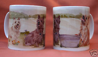 CAIRN TERRIER DOG MUG OFF TO THE DOG SHOW WATERCOLOUR PRINT SANDRA COEN ARTIST