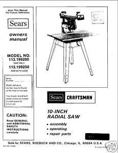 Sears-Craftsman-Radial-Arm-Saw-Manual-No-113-199250