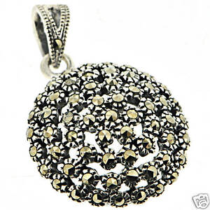 Sterling-Silver-Classic-Round-Black-Marcasite-Pendant
