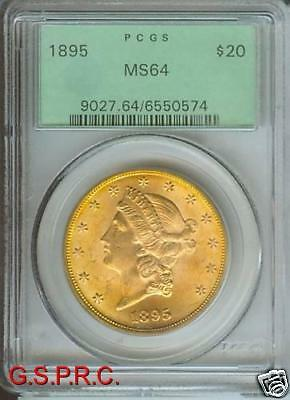 1895 $20 LIBERTY DOUBLE EAGLE PCGS MS64 MS 64 OLD GREEN HOLDER OGH