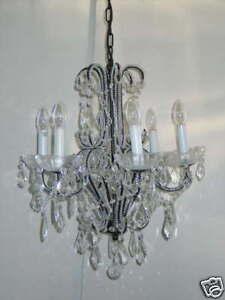 LED-Deckenleuchte-Ravenna-5flammig-Metall-Kristallbehang-klar-Kronleuchter-Lampe