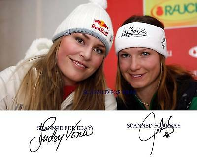 LINDSEY VONN AND JULIA MANCUSO SIGNED AUTOGRAPHED 8x10 RP PHOTO OLYMPICS