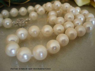 Echte Perlenkette Weiß Rund 9mm / 45cm, 925er Silber, Geknotet, Top Geschenk