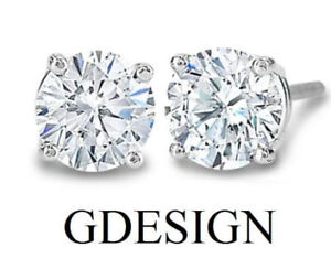 3-8-ct-Round-Natural-Genuine-Diamond-G-I2-Solitaire-Stud-Earrings-14K-WHITE-GOLD