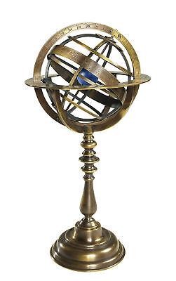 "Bronze Antiqued Armillary Dial Sphere Globe Desk Top 14"""