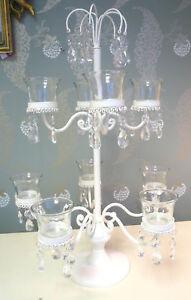 candle holder cream candelabra shabby wedding chic cream jewel table centre ebay. Black Bedroom Furniture Sets. Home Design Ideas