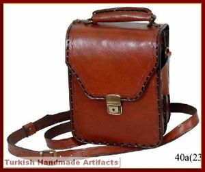 HANDMADE-Leather-Bag-Briefcase-Shoulder-Attache-40-A