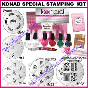Pick any konad stamping nail art kit polish image plate ebay image is loading pick any konad stamping nail art kit polish prinsesfo Images
