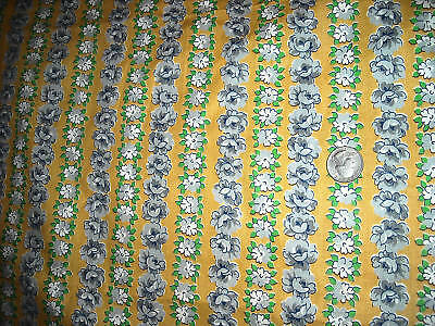 Vintage yardage quilt fabric 10 yds floral yellow flowers