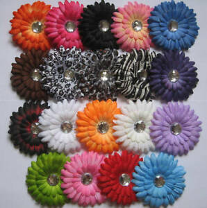 Lot-of-10-gerber-daisy-flower-clips-baby-girl-hair-bow-for-headband-kufi-hat-new