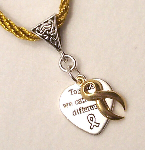 #9331 -- GOLD AWARENESS RIBBON HEART CHARM GOLD NECKLACE -WOW!