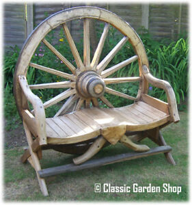 TEAK-OX-CART-WAGON-WHEEL-GARDEN-BENCH-FURNITURE