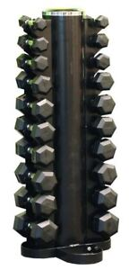 Rubber Hex Dumbbells Pack 1KG-10KG Set w/ Rack Dumbells