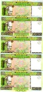 LOT-Guinea-5-x-500-Francs-2006-P-39-UNC-colorful