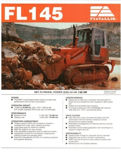 Fiat Allis FL145 Crawler loader specs sales literature