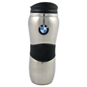 BMW-Silver-Travel-Coffee-Mug-Cup-with-Rubber-Grip-New