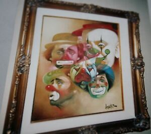5-CLOWN-FACES-CHUCK-OBERSTEIN-ORIGINAL-CLOWNS-FRAMED
