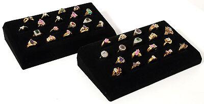 2 - 18 Ring Tray Black Velvet Jewelry Display