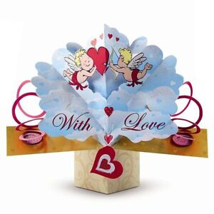 Pop Up Greeting Card/Gift Valentines With Love Cherub