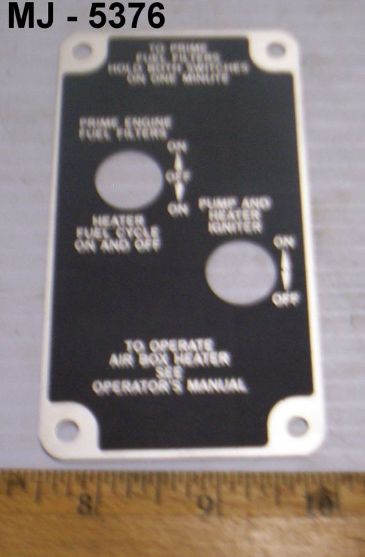 Military Vehicle Heater Instruction Plate