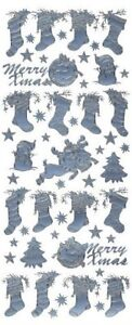 SILVER XMAS STOCKINGS PEEL OFFS FOR CARDS//CRAFTS