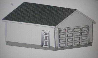 20' X 24' GARAGE SHOP PLANS MATERIALS LIST & BLUEPRINTS PLAN #1037