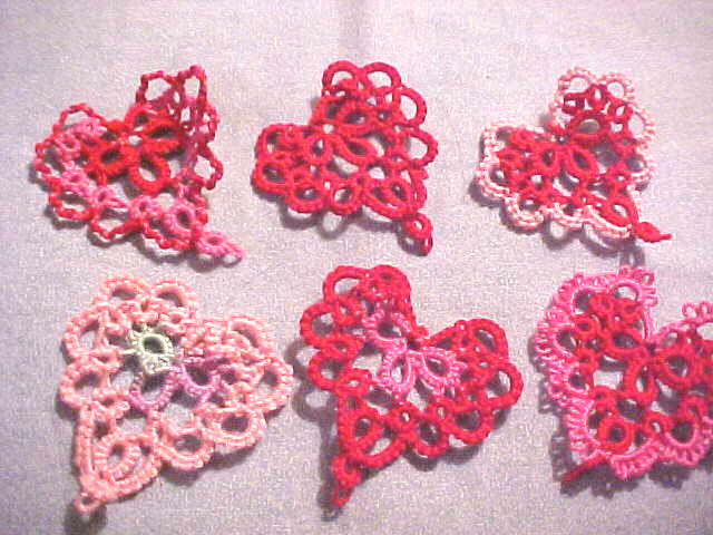 Tatted Hearts (6) Lacey Red & Pink Valentines Tatting Crazy Quilts Scrapbooks