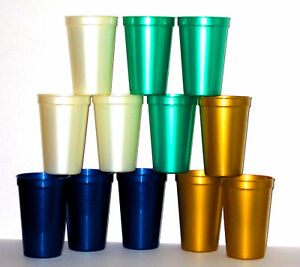 12 16 oz plastic drinking cups glasses pearl colors lead free mfg usa durable ebay. Black Bedroom Furniture Sets. Home Design Ideas