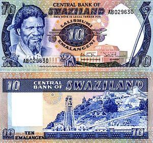 Swaziland-Kingdom-10-Emalangei-1985-P-10-10c-UNC