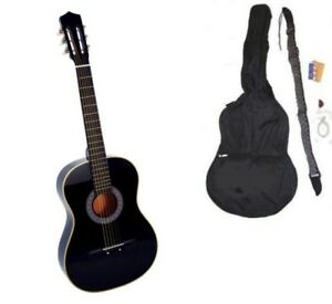 New-Crescent-Beginner-BLACK-Acoustic-Guitar-Gigbag-Strap-Tuner-Lesson-Pick