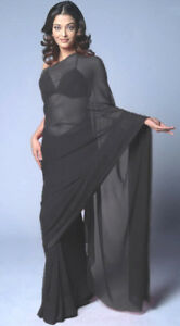 Black-Bollywood-Wedding-Chiffon-Saree-Sari-Belly-Dance