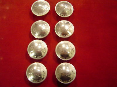Conchos: 8 Silver Canada 1967 Bob Cat Quarter, Real Coin, Post & Screw, 90%