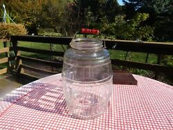 Vintage Country Store Primitive Glass Jar - Pickles? - Red Wood Handle - 13.25