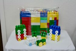 Mega Blocks First Builders Building Set Large Mixed Blocks & Parts 10 W/ Wheels