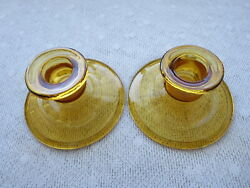 Vintage Amber Glass Two (2) Candlesticks Depression Candlestick 2