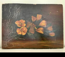 Victorian Floral Oil On Board Painting 1890  Sunday Art