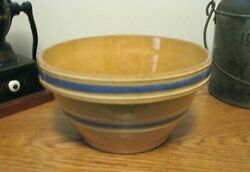 Vintage Watt Pottery Yellow Ware Bowl With Blue & White Bands, 9 1/4