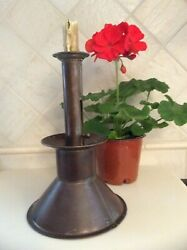 18th-19th C. Tin Smith Made Sand Filled Weighed Push Up Tin Candle Holder