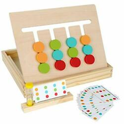 Montessori Learning Toys Slide Puzzle Color & Shape Matching Brain Teaserslo...