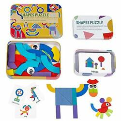 Likee Wooden Pattern Blocks Jigsaw Puzzle Sorting And Stacking Games Montesso...