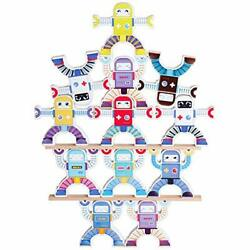 Wooden Robot Stacking Balancing Block Puzzle Game Building Toy Educational St...