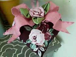 Pretty Pink Cabbage Roses Shabby Sweet   Burgundy  Decorative Heart Ornament