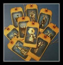 Set Of Nine Gothic Witches Hang Tags - Primitive Design - New